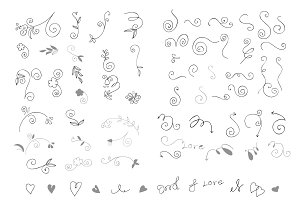 Doodle design element vector set