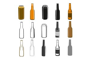 Beer bottles and can of beer clipart