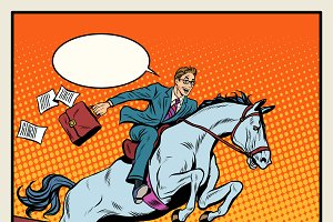Businessman on a horse jumping