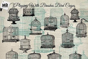 Vintage Bird Cage Brushes