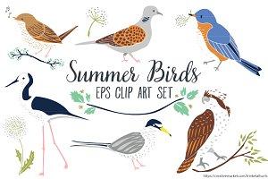 Summer Birds Clip Art Vector EPS
