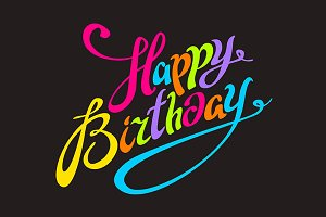 Happy Birthday color lettering