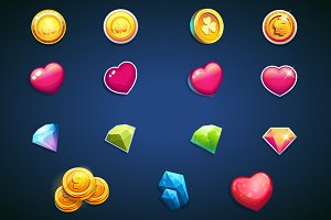 Coins, hearts, jewels - set icons.