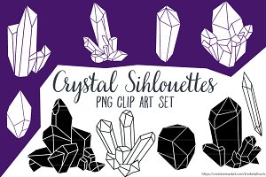 Crystal Silhouettes Clip Art PNG