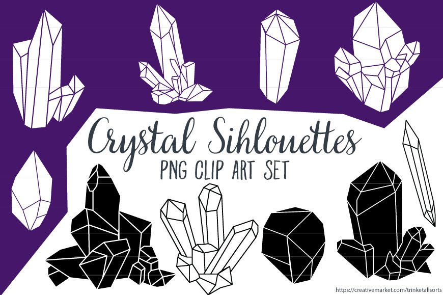 Crystal Silhouettes Clip Art Png Illustrations