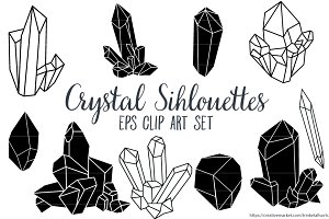 Crystal Silhouettes Clip Art EPS
