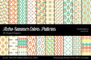 Retro Summer Colors Digital Papers