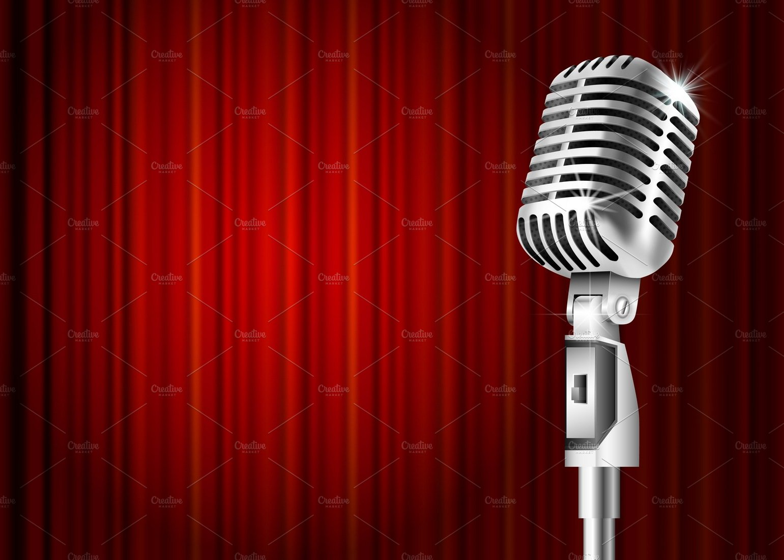 Microphone And Red Curtain Illustrations Creative Market