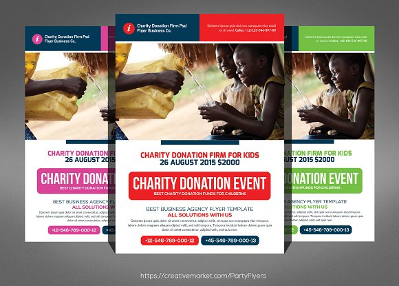 Charity Donation Flyer Template Flyer Templates on Creative Market – Donation Flyer Template
