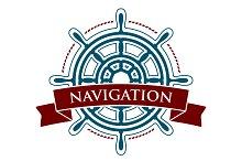 Ship steering wheel Logo. Vector.
