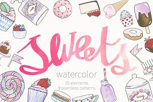 Watercolor sweets: objects & pattern