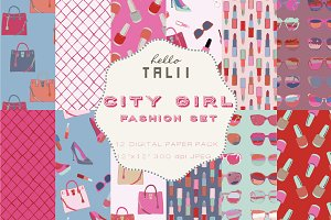 City Girl Fashion Set Digital Paper