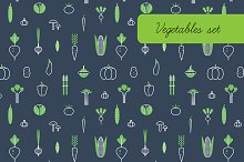 Vegetables. Icons, patterns.