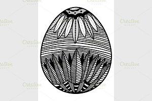 Sketch style floral Easter egg