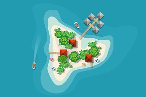 Top view island paradise