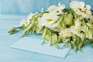 White flowers lying on a blue wooden board