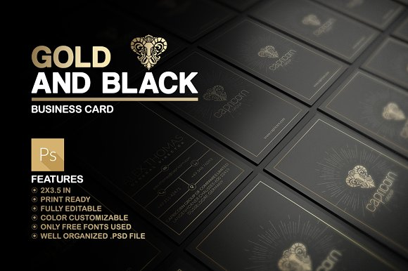 Gold and black business card business card templates creative market reheart Gallery
