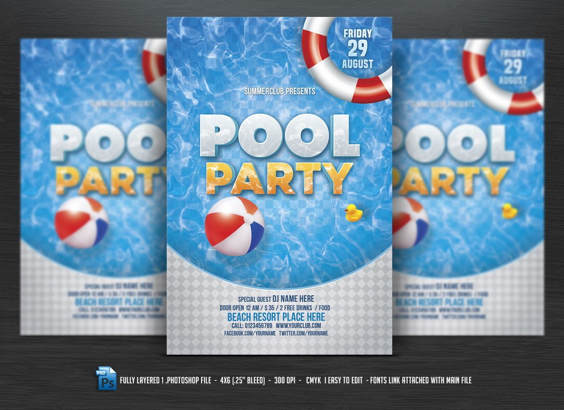 Pool Party Flyer ~ Flyer Templates ~ Creative Market