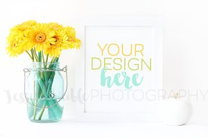 Yellow Flowers, White Frame, Apple