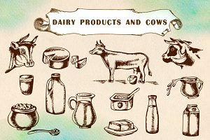 Vintage dairy products and cows