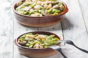 Scrambled eggs shrimp green beans
