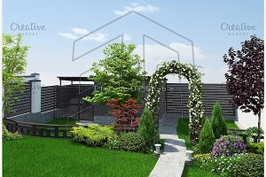 Backyard defining areas, 3d render