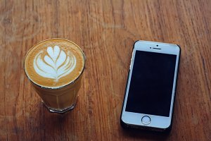 latte and smartphone