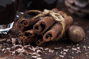 cinnamon with chocolate and nuts