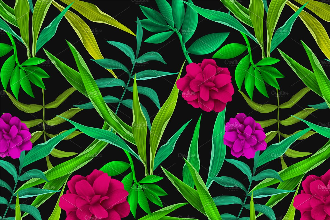 Jungle Leaves Seamless Pattern Patterns Creative Market