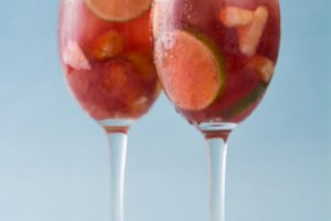 Summer sangria. Blue background