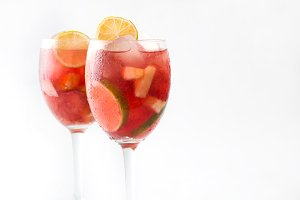 Summer sangria. Isolated photo