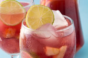 Summer sangria. Blue backgrund