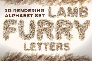 3D Lamb Furry Letters Pack