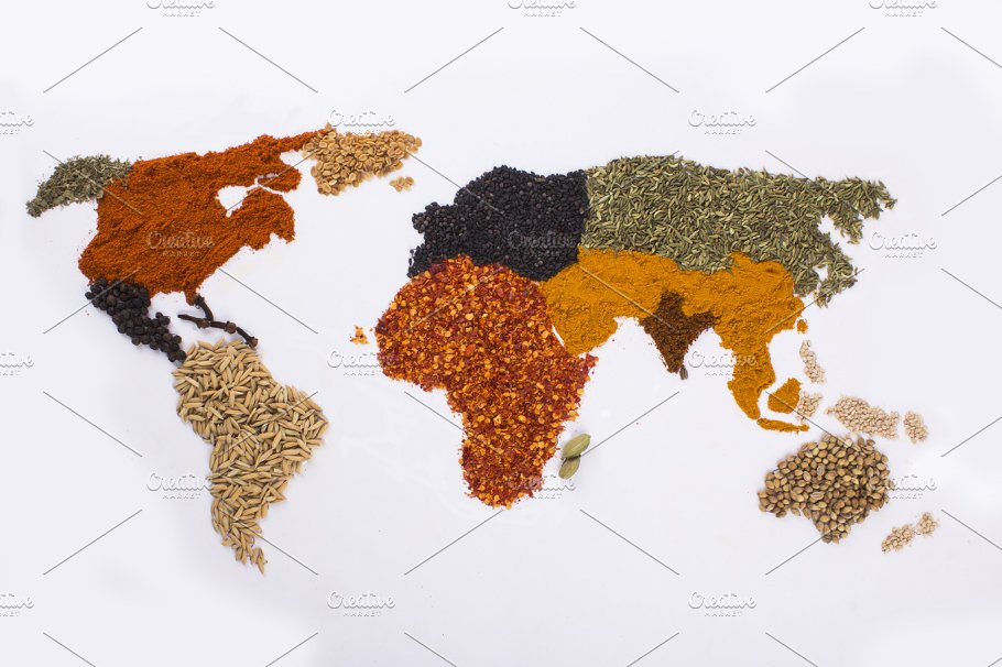 Spices And Herbs In World Map Shape Food Drink Photos - World map shape