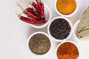 Indian Spices and herbs in bowls