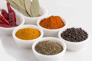 Spices and herbs in bowls