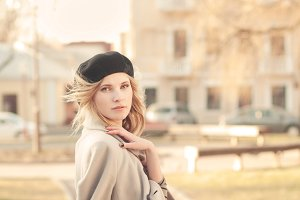 young girl in a beret