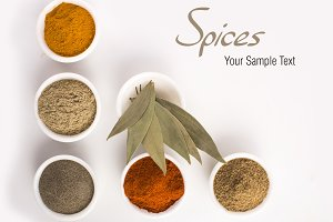 Spices text with spices in bowls