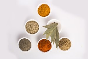 Spices and herbs in triangle