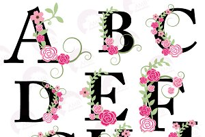 Floral Letter Clipart A to I AMB-932