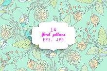 14 floral patterns. EPS & JPG