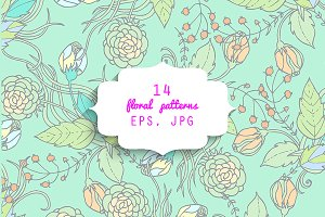 14 floral patterns. EPS & JPG