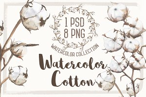 Watercolor flower cotton