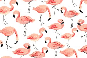 Flamingo Party Seamless Pattern