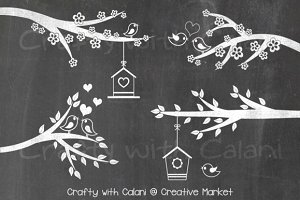 Love Bird & Flower Chalkboard