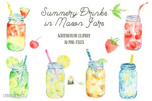 Watercolor Mason Jar Drinks