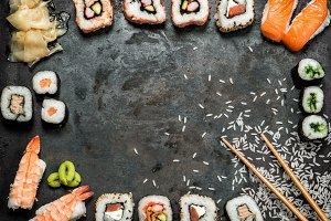 Sushi rolls, maki, nigiri, salmon