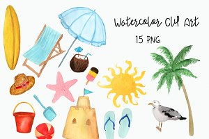 Watercolor Beach Clip Art