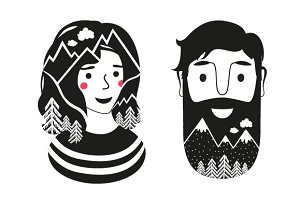 Bearded man and cute girl nature set