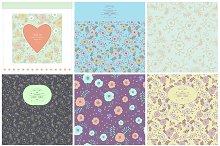 Vintage cards+seamless patterns